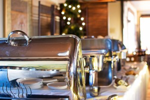 Chafing dishes during our pasta buffet